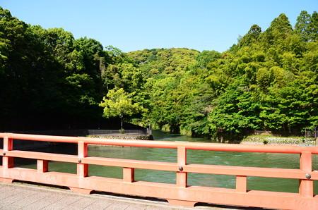 新緑と赤い橋