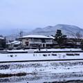 Photos: 雪の賀茂川と鷹ヶ峰三山