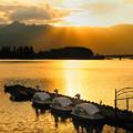 写真: 河口湖夕景