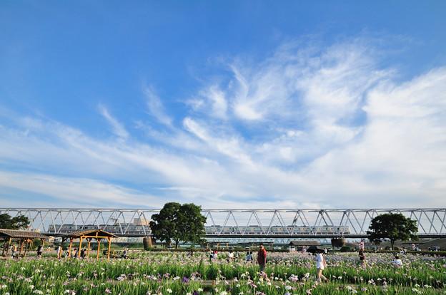 青空と雲と電車