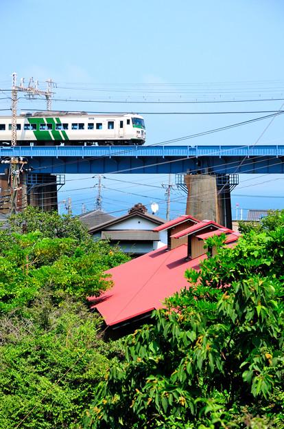 玉川橋梁を渡る185系特急踊り子