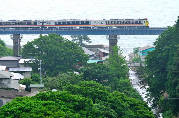 日本海を見下ろす鉄橋を渡る