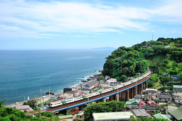 海を見下ろす鉄橋を行く