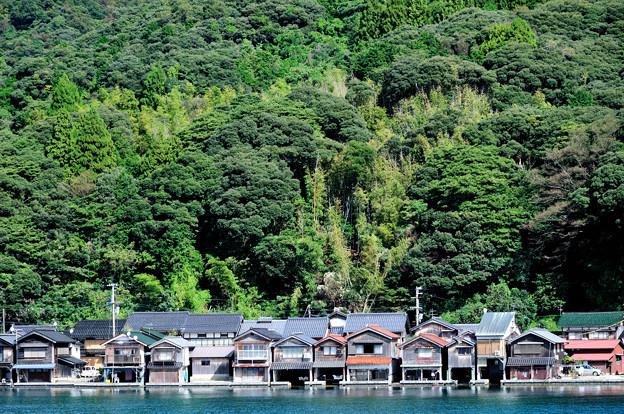 舟屋が並ぶ風景