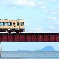 写真: 由良川橋梁を渡る丹鉄列車 12