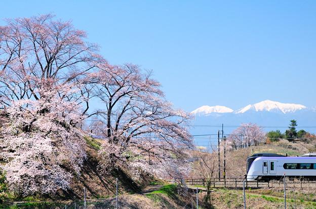 勝沼甚六桜と南アルプスとE353系特急電車