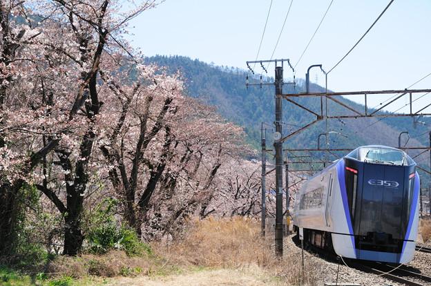 勝沼ぶどう郷駅を通過するE353系特急電車