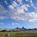 荒川橋梁を渡る京成スカイライナーと少年野球グラウンド