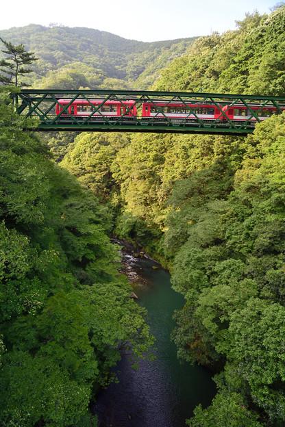 スイスの登山電車風真っ赤な電車が通過