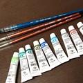 Photos: 新しくお迎えした筆と絵の具。ホルベインさんのブラックリセーブルとクサカベさんの透明水彩だよ