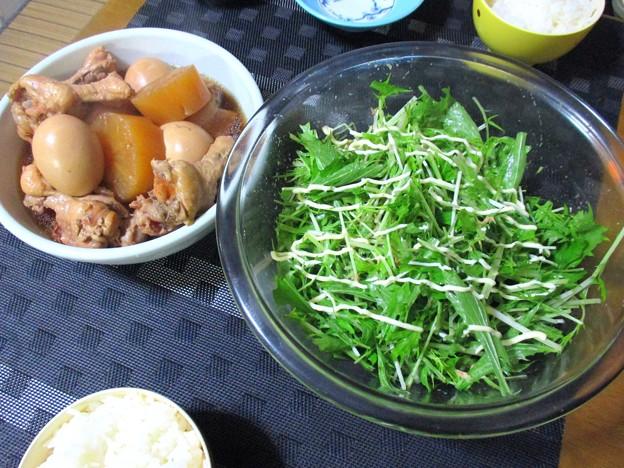 手羽大根と水菜のサラダ