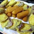 さつまいもの天ぷらと業務スーパーのチーズフライ