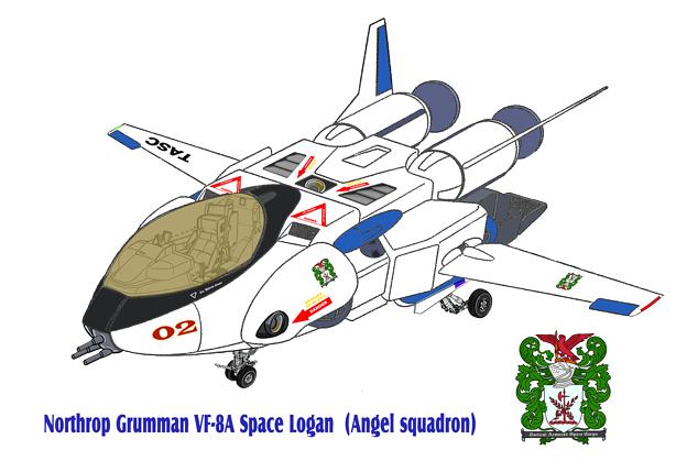 【改訂版】 白・青色 VF-8A 宇宙ローガン 【航空機形態】