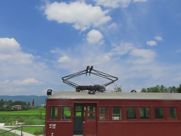 夏のお空と電車の教室。