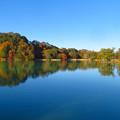 秋のブルー、松原湖。