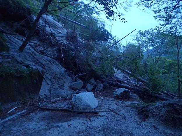 林道の大きな崩壊地