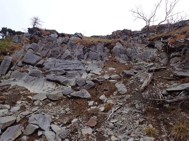 稜線直下の岩場