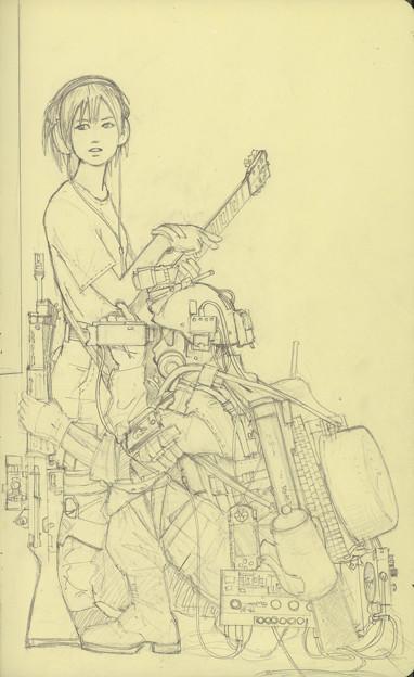 担え銃(下描き)