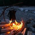 写真: 焚火時間