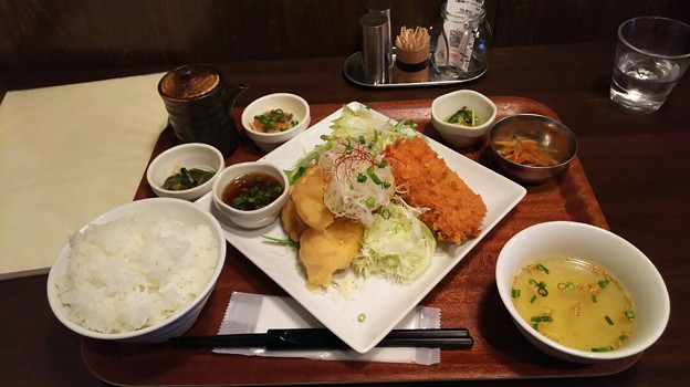 Photos: 郡山のトンチキてぃさんでコラボ定食 今回は鶏天とクリームコロッケ