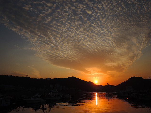 宇和島港の夕陽[2018.2]