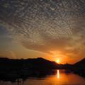 写真: 宇和島港の夕陽[2018.2]