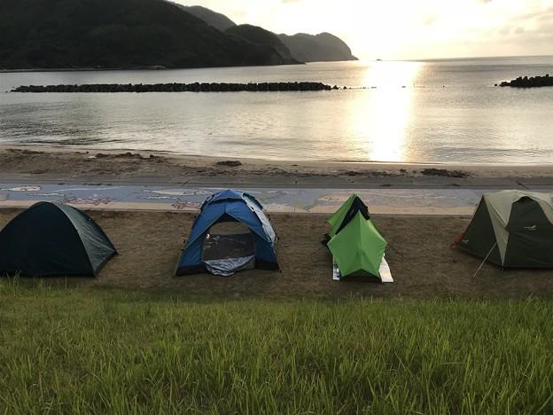 キャンプした朝