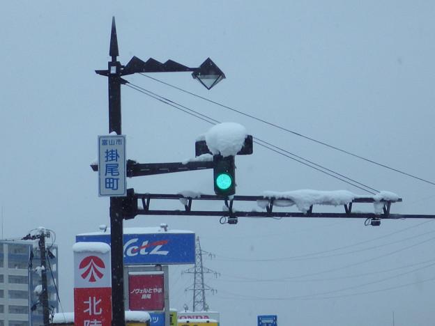 Photos: LED信号機は雪に弱い