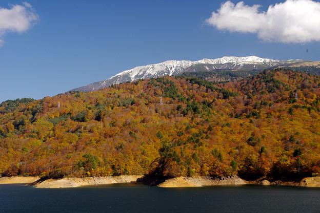 有峰湖と薬師岳