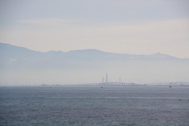 新湊大橋が小さく見える