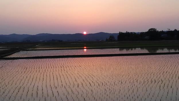 田植え頃の夕焼け (4)