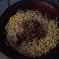 写真: 大盛りパスタの夕食