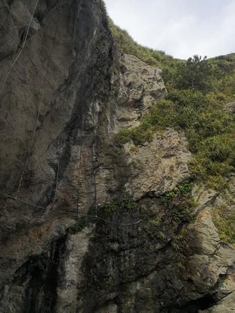 江の島 岩屋洞窟の途中の崖 隆起の地層