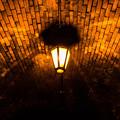 写真: ランタンとレンガと影