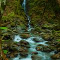 写真: 細く力強い雄滝