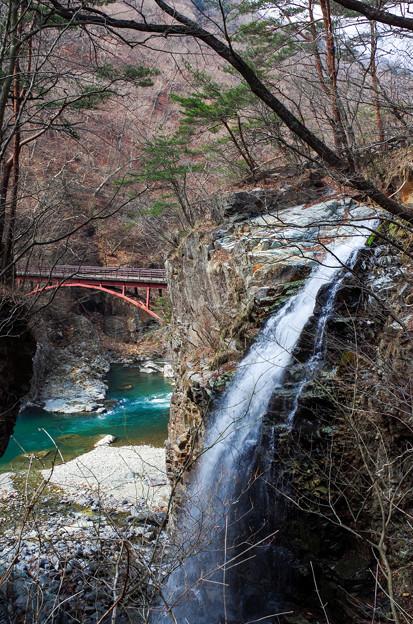 滝と橋と翠の流れと