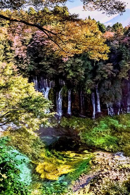 富士と白糸の滝の秋-4