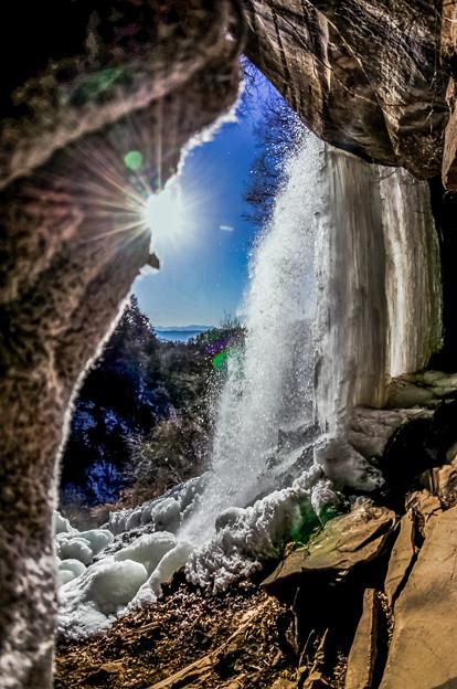氷点の乙女滝の裏洞窟
