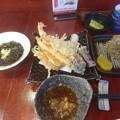 Photos: 車海老の天ぷら もずく とろろ梅紫蘇おにぎり