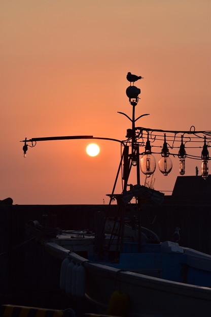 親不知漁港からの夕焼け