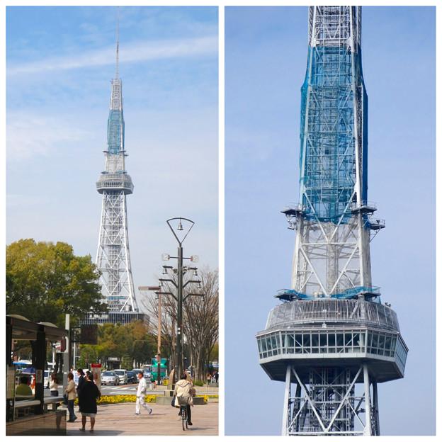 ネットで上の方が覆われた、名古屋テレビ塔