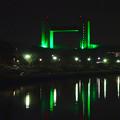 写真: 緑色の「どーもくん」みたいに見えた、夜の名古屋国際会議場 - 3
