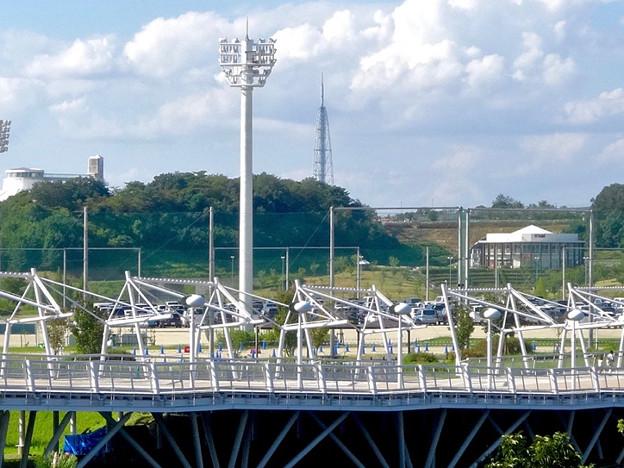 愛・地球博記念公園:グローバルループ越しに見た、瀬戸デジタルタワー - 3