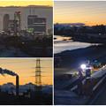 写真: 吉根橋(庄内川)から見た夕焼け