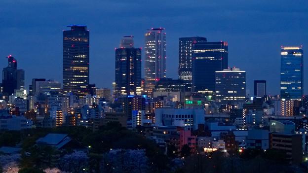 名古屋城天守閣 最上階から見た、夜の名駅ビル群 - 4
