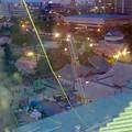 名古屋城天守閣 最上階から見下した、本丸御殿建設工事用のクレーン - 1