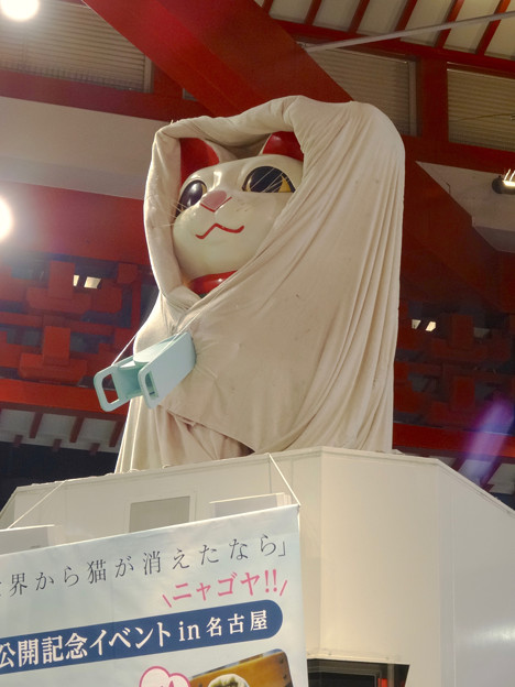 映画『世界から猫が消えたなら』コラボで布団かぶってる(?)、大須の招き猫 - 3