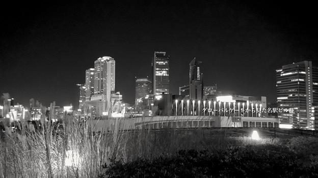 グローバルゲート最上階から撮影した夜の名駅ビル群 - 8(モノクロ)