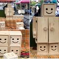 覚王山春祭 2018 No - 14:可愛らしいロボット風の小型タンスと収納ボックス