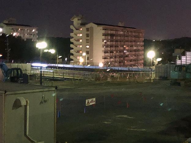 桃花台線の旧・車両基地進入高架撤去工事(2018年4月20日) - 2